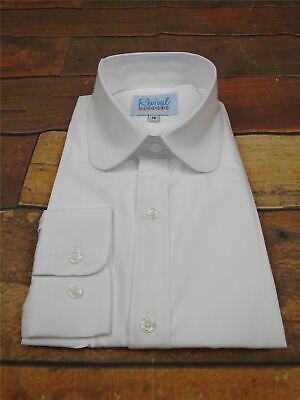 Revival Authentic 1920s30s40s Style White Round Club Collar Shirt