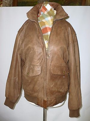 GEORGETOWN VINTAGE  REAL LEATHER BOMBER STYLE JACKET SIZE  M  1970-1980