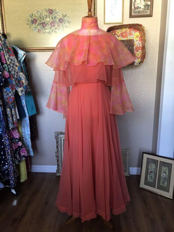 Vintage Designer Miss Elliette California Peach/Orange Dress Medium