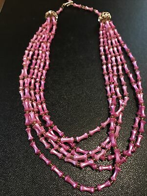 1950s Jewelry Styles and History 1950's- 60's Vintage Pink Necklace $9.85 AT vintagedancer.com