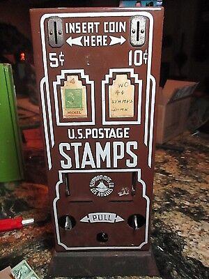 Antique Shipman Postage Stamp Vending Machine,1930's Porcelain Front,5 & 10 Cent