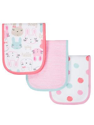 Gerber Baby Girls 3 Pack Terry Lined Organic Burp Cloths NEW Super Cute Gerber 3 Pack Terry