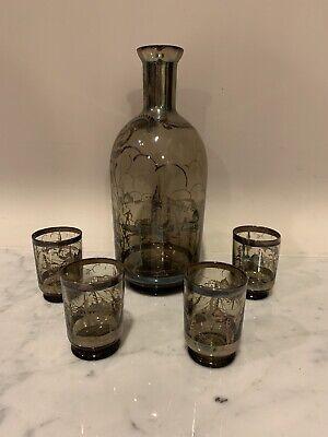 Vintage Decanter Set - with 4 Shot Glasses
