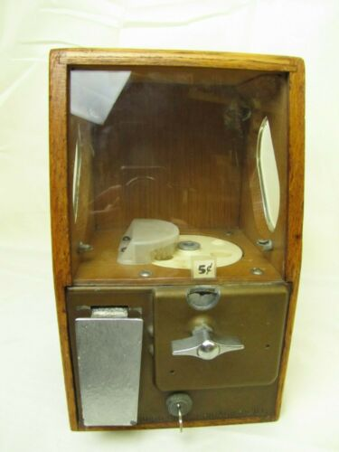 Vtg Original Victor Baby Grand wood Chicle Gumball Vending machine W/Key 5 cent
