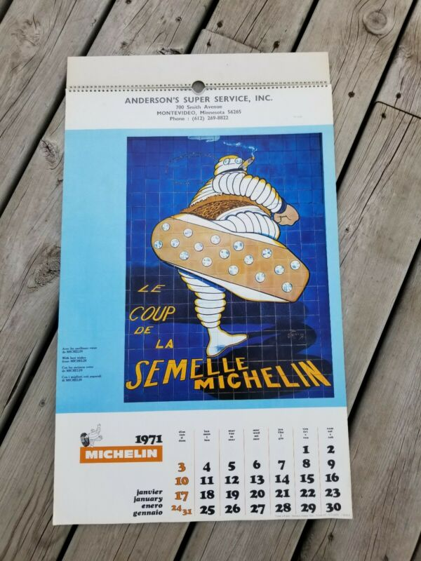 1971 Michelin Tire Advertising Dealer Calendar Tires Printed in Paris France