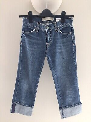 Women Gap Low Rise Cropped Turn Up Blue Jeans Size 8