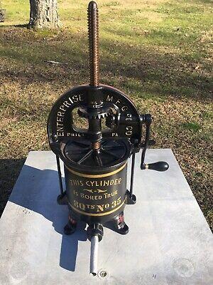 Vintage Enterprise Cast Iron 8 Qt Sausage Stuffer Lard Press Heavy