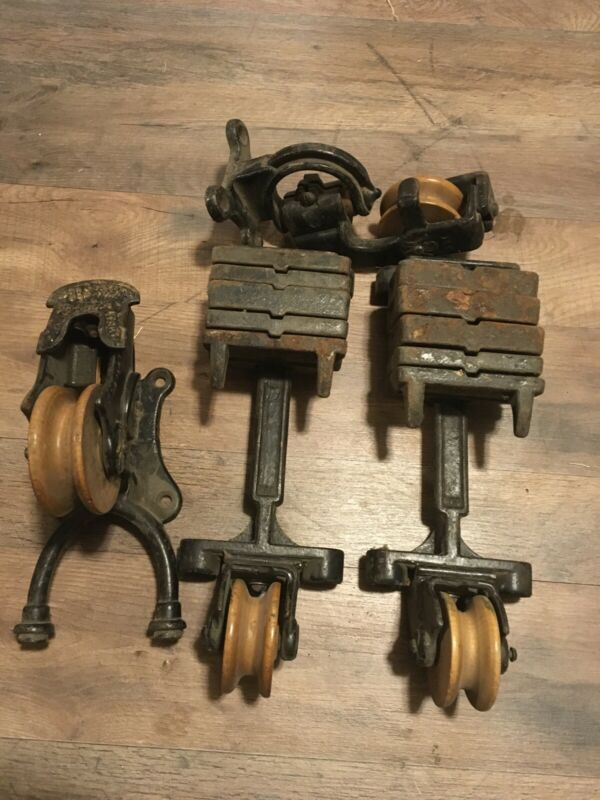 Antique 1880's Peck & Snyder Wood Cast Iron Pulley Set Industrial Decoration