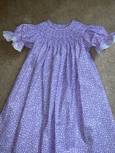READY TO SMOCK PURPLE DOT BISHOP DRESS W/ LACE SIZES 3 MOS to 4T