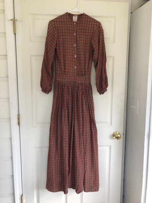 Civil War Reenactor Handmade Womens Ladies Work Camp Dress Maroon Red Plaid Sz 6