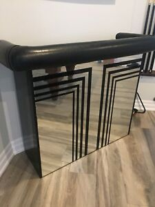Bar -mirror front and black leather padding