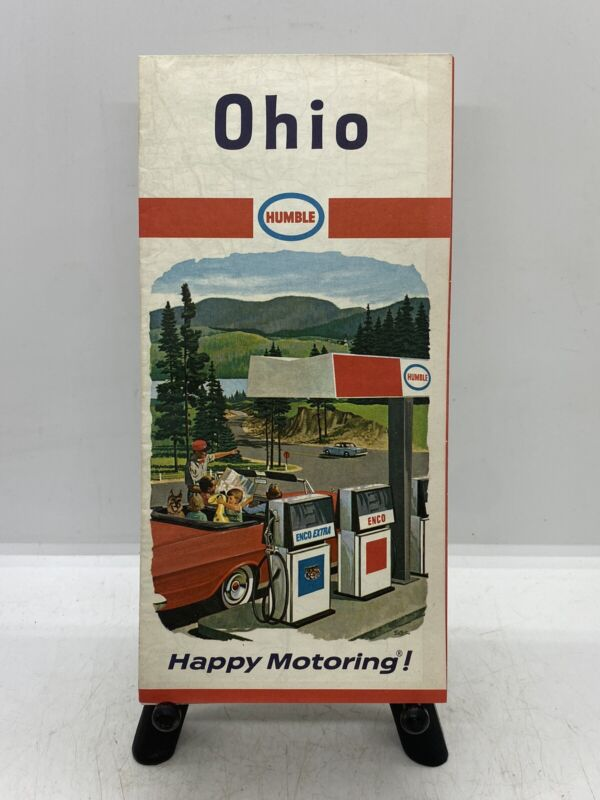 Old Gas & Oil Collectible Vintage 1967 Humble Gasoline Advertising Ohio Road Map