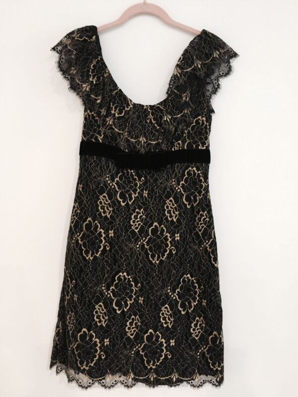*ANIMAL RESCUE*AUTH RARE BETSEY JOHNSON BLACK/GOLD GILDED LACE DRESS-$400-8