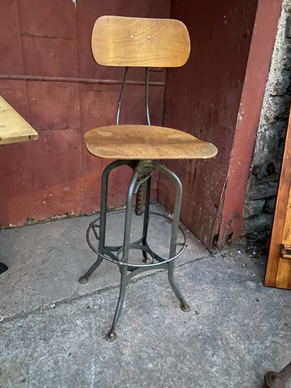Antique Toledo Uhl Drafting Stool Office Study Industrial Kitchen Bar Loft