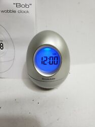 Brookstone Bob 5-in-1 Wobble Clock Silver Box Time Date Temp Alarm Colors