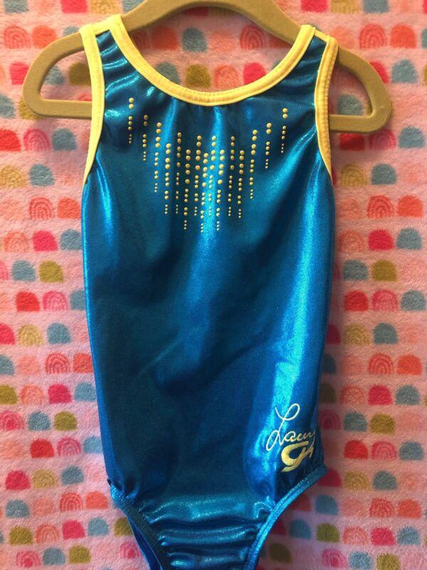 GK Elite Gymnastics Dance LEOTARD Teal CM medium strappy back LAURIE HERNANDEZ