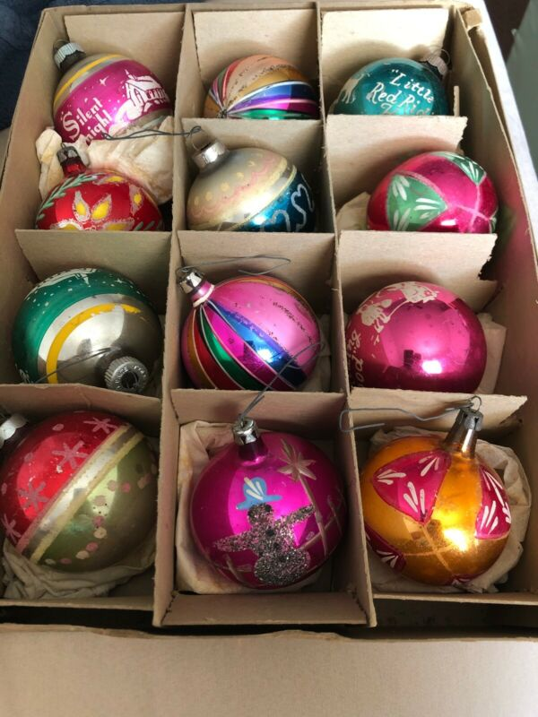 Vintage Christmas ornaments Shiny brite Premier Glass Works