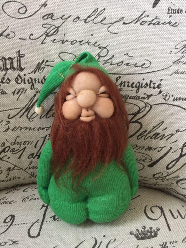 VTG Shelf Elf Handmade Leprechaun Wool Beard Folk Art Christmas Ornaments