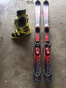 Kid's Downhill Skis Size 130 and Ski Boots 24.5