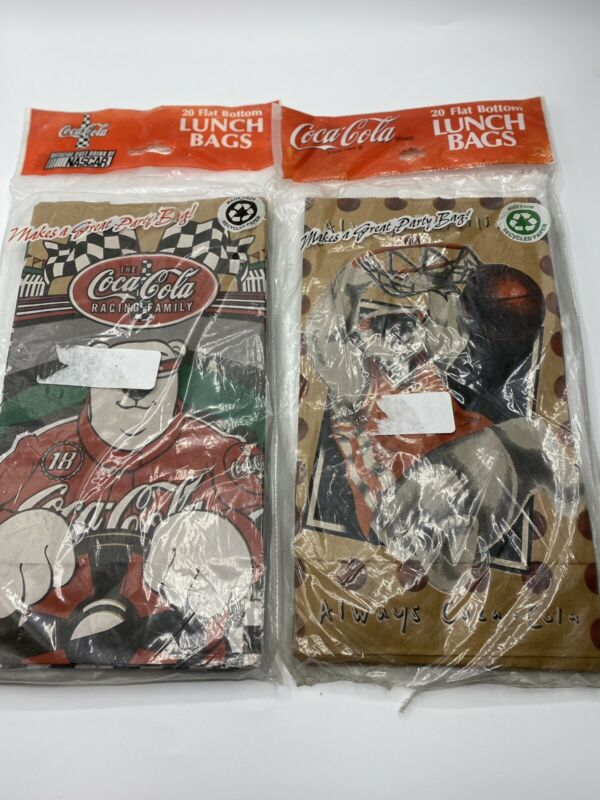 2 Packs Vintage Coca Cola Brown Paper Lunch Bags Coke Polar Bear 40 Bags