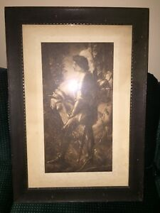 Antique Sir Galahad and White Horse Print in Wooden Frame