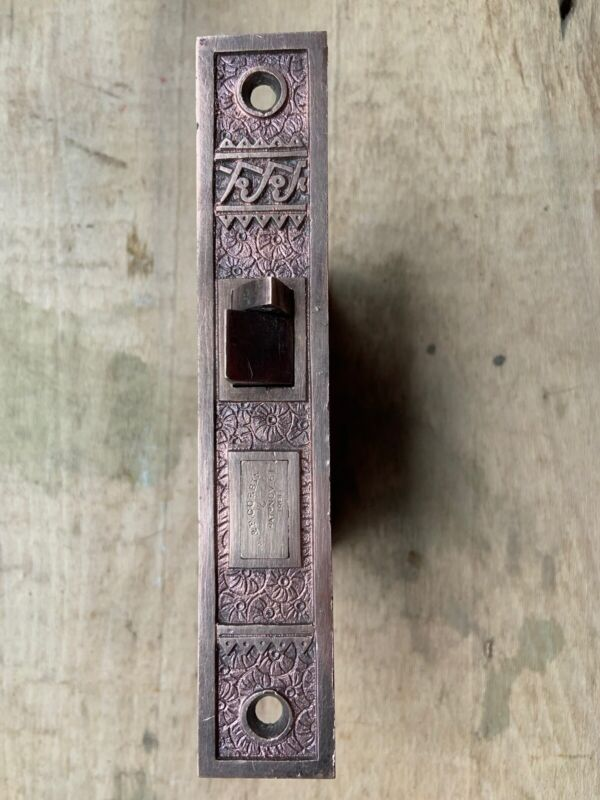 VINTAGE VICTORIAN EASTLAKE BRASS CORBIN MORTISE DOOR LOCK
