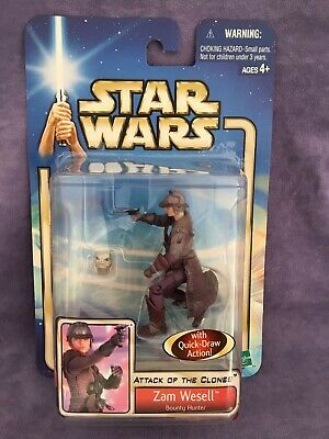 Star Wars Zam Wesell Attack Of The Clones Hasbro 2002 Brand new on card