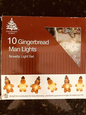 Gingerbread Man Christmas String Novelty Lights Set Of 10 Enchanted Forest NIB ()