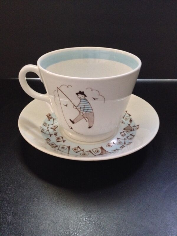 Vintage Arabia Finland Fisherman Cup & Saucer Set In Very Good Condition RARE