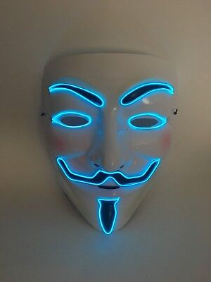 EL WIRE SCARY HALLOWEEN MASK LED COSTUME RAVE - VENDETTA GUY FAWKES ANONYMOUS](Scary Guy Halloween Costumes)