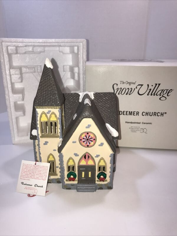 "SNOW VILLAGE / DEPT 56 / "" REDEEMER CHURCH "" NIB"