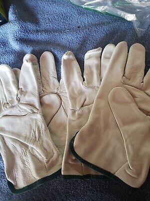 2 Pack Wells Lamont 100 Grain Cowhide Leather Work Gloves Medium