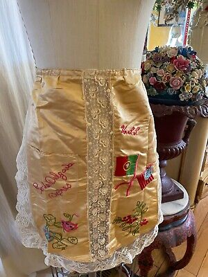 Panel Apron in Butterfly Print with Blue Lace and Black Satin Ribbon Trim