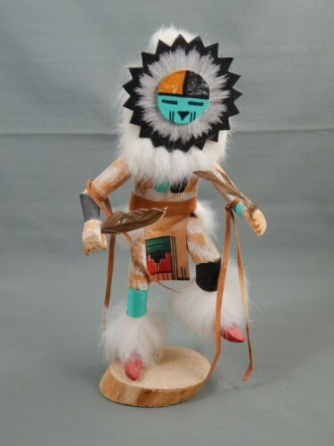 Native American Hopi Navajo Carved Wood Sunface Kachina Doll Artist Signed