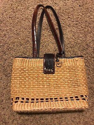 Clasp Satchel Handbag - Brighton Handbag Woven Straw Satchel Purse W/ Leather Shoulder Strap & Clasp