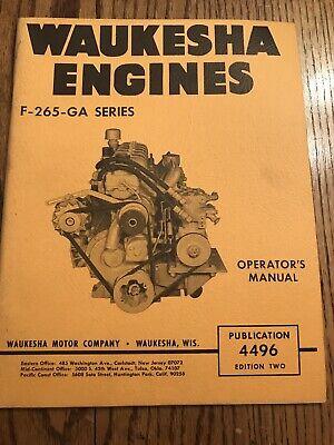 Waukesha Engines F-265-ga Series Operators Manual