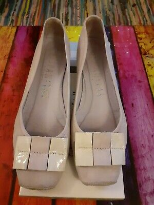 Grey suede low heeled court shoes from hispanitas. Size 7