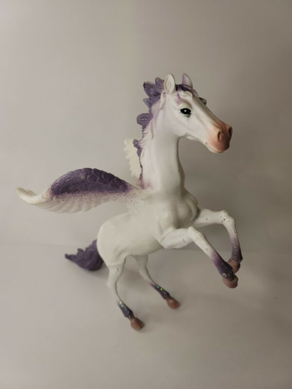 "2014 Toy Major Trading Co.12"" Rubber Pegasus White Purple Glitter Toy Fantasy"