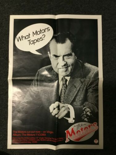 VINTAGE 1977 THE MOTORS PROMO POSTER  POWER POP / NIXON