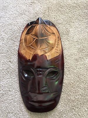 Vintage Carved Wooden Wall Hanging   Face Mask Unusual Turtle Detail