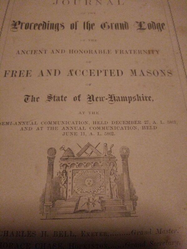 RARE 1862 CIVIL WAR Masonic Book Of Annual Proceedings New Hampshire Freemasons