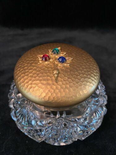 Antique APOLLO Gilt Brass Jeweled with Cut Glass Trinket JEWELRY Vanity Box