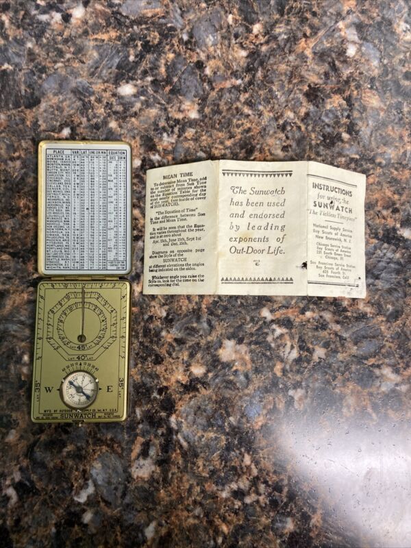 1920s Vintage Pocket Sunwatch Sundial Compass The Outdoor Supply Co BSA