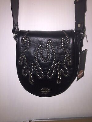 Harley-Davidson Women's Black Leather Flame Shoulder Bag Purse -