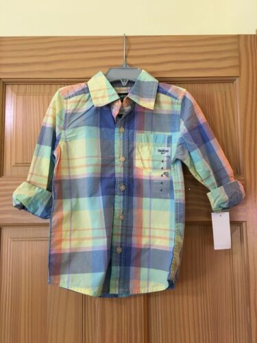 New OshKosh Plaid Boys Button up Shirt Top Yellow Blue Multi Easter many sizes