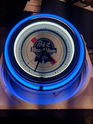 Pabst Blue Ribbon PBR Double Neon Wall Clock Great For Garage Man Cave  for sale  Concord