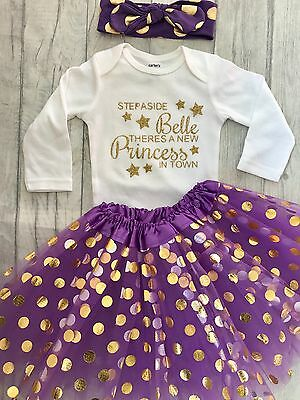 DISNEY PRINCESS BELLE TUTU, Gold Belle Quote White Long Sleeve Purple Skirt HB