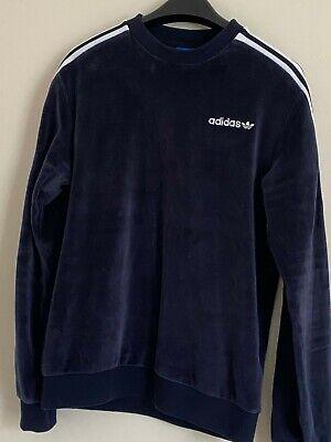 Adidas Originals Mens Velor Velvet Track Sweatshirt In Navy Blue XS