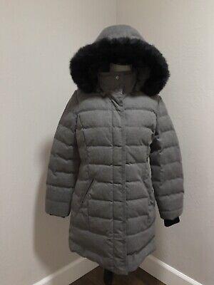 UGG Celeste Wool Down Puffer Grey Coat Jacket Hood Fur Collar Size M Medium