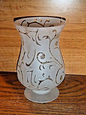 HOME INTERIORS HOMCO FROSTED GLASS CANDLEHOLDER VASE 8 X 5""